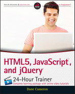 Cover of HTML5, JavaScript, and jQuery 24-Hour Trainer
