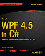 Cover of Pro WPF 4.5 in C#: Windows Presentation Foundation in .NET 4.5, Fourth Edition