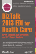 Cover of BizTalk 2013 EDI for Health Care: HIPAA-Compliant 834 (Enrollment) and 837 (Claims) Solutions, Second Edition