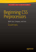 Cover of Beginning CSS Preprocessors: With SASS, Compass.js, and Less.js