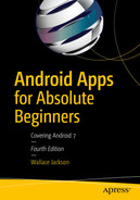 Cover of Android Apps for Absolute Beginners: Covering Android 7, Fourth Edition