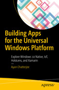 Cover of Building Apps for the Universal Windows Platform: Explore Windows 10 Native, IoT, HoloLens, and Xamarin