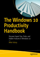 Cover of The Windows 10 Productivity Handbook: Discover Expert Tips, Tricks, and Hidden Features in Windows 10