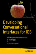 Cover of Developing Conversational Interfaces for iOS: Add Responsive Voice Control to Your Apps