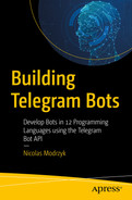 Cover of Building Telegram Bots: Develop Bots in 12 Programming Languages using the Telegram Bot API