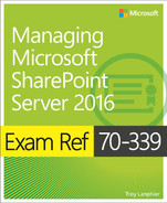 Cover of Exam Ref 70-339: Managing Microsoft SharePoint Server 2016