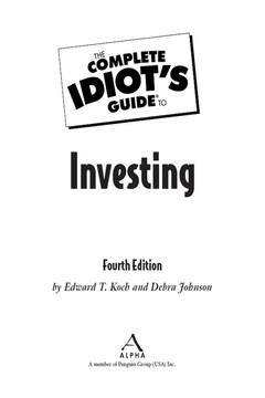 The Complete Idiot's Guide® To Investing