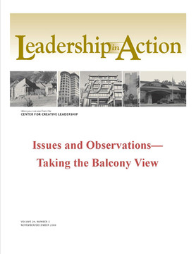 Leadership in Action: Issues and Observation—Taking the Balcony View