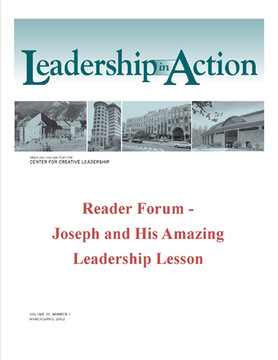Leadership in Action: Reader Forum - Joseph and His Amazing Leadership Lesson