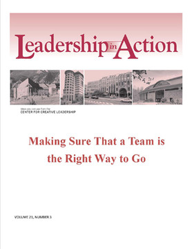 Leadership in Action: Making Sure that a Team is the Right Way to Go