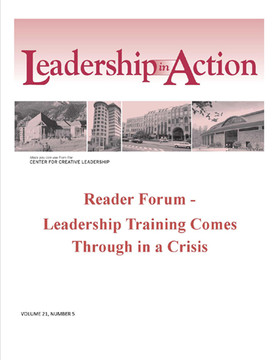 Leadership in Action: Reader Forum - Leadership Training Comes Through in a Crisis