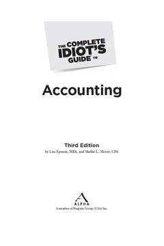 The Complete Idiot's Guide® To Accounting