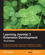 Cover of Learning Joomla! 3 Extension Development - Third Edition