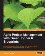 Cover of Agile Project Management with GreenHopper 6 Blueprints