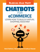 Cover of Chatbots for eCommerce: Learn how to build a virtual shopping assistant