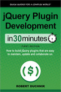 Cover of jQuery Plugin Development in 30 Minutes