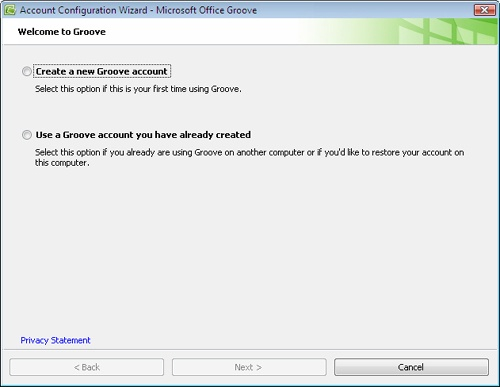 Use the Account Configuration Wizard to create an account the first time you use Groove.