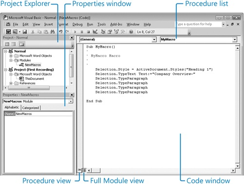Understanding and Using the Visual Basic Editor