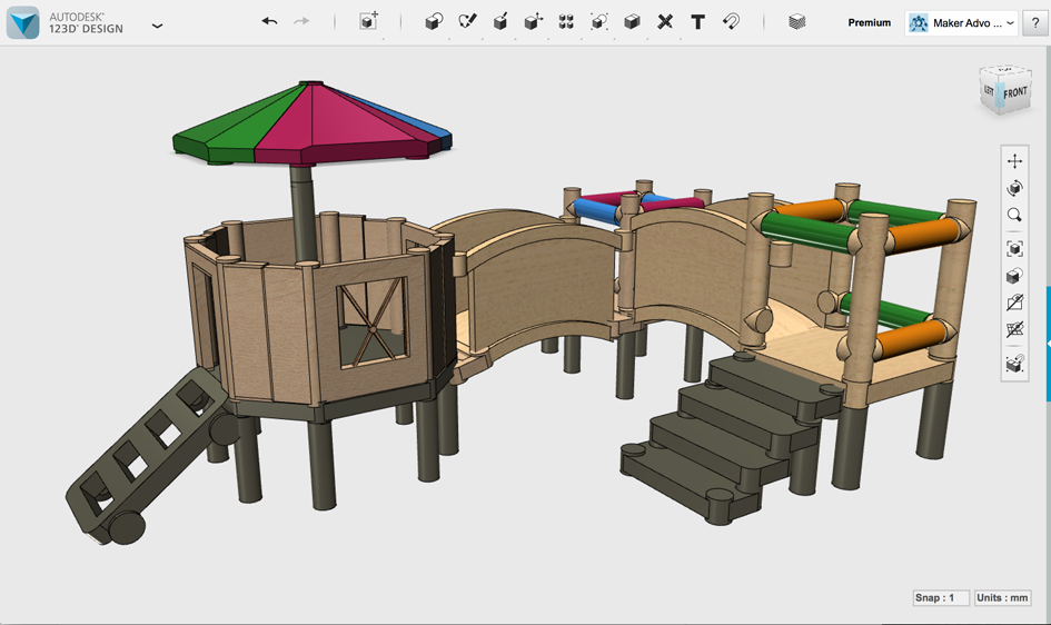 Figure 4 2  A model for a backyard play structure. 4  123D Design   3D CAD with Autodesk 123D  Book