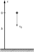 A small body falling downward with an initial velocity v0 from a height h.