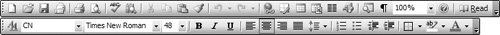 This image shows the Standard and Formatting toolbars in Microsoft Word 2003. Notice how the toolbar is made up of butcons without static hinting, rather than buttons. This saves space and improves readability.