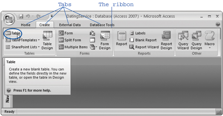 The ribbon's full of craftsman-like detail. When you hover over a button, you don't see a paltry two- or three-word description in a yellow box. Instead, you see a friendly pop-up box with a complete mini-description. Here, the mouse is hovering over the Table command.