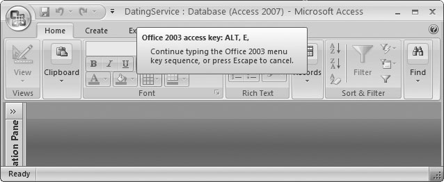 "By pressing Alt+E, you've triggered the ""imaginary"" Edit menu. You can't actually see it (because it doesn't exist in Access 2007). However, the tooltip lets you know that Access is paying attention. You can now complete your action by pressing the next key for the menu command."