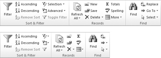 Here are three sections from the Home tab in the ribbon (Sort & Filter, Records, and Find). When the Access window is wide, there's plenty of room to show buttons and text (top). But if you resize the Access window down to super-skinniness, the ribbon removes text so it can keep showing the same set of commands. If you want to know what a no-text button does, hover your cursor over it to see its name.