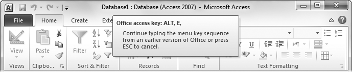 "By pressing Alt+E, you've triggered the ""imaginary"" Edit menu. You can't actually see it (because it doesn't exist in Access 2010). However, the tooltip lets you know that Access is paying attention. You can now complete your action by pressing the next key for the menu command."