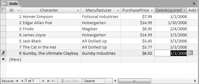 "An Access user has been on an eBay buying binge and needs to add several doll records. With a quick Ctrl+"" keystroke, you can copy the date from the previous record into the DateAcquired field of the new record."