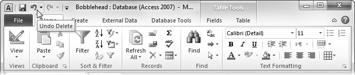 The Undo command appears in the Quick Access toolbar at the top left of the Access window, so it's always available.