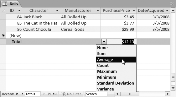 Here, the Total row shows the average price of all the records in the Dolls table.
