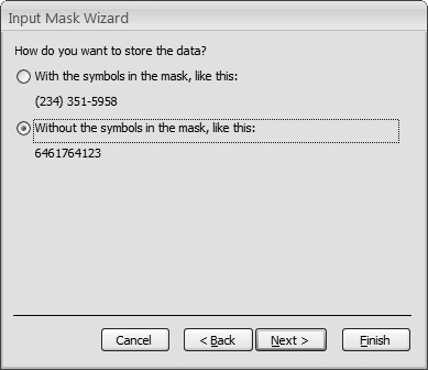 The final step lets you choose how the data in your field is stored—with or without the mask symbols.