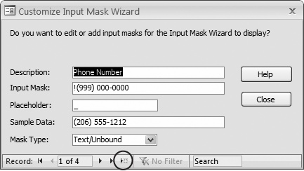"To add your own mask, use the ""New blank"" button (circled). Or you can use this window to change a mask. For example, the prebuilt telephone mask doesn't require an area code. If that's a liberty you're not willing to take, then replace it with the more restrictive version (000) 000-0000."