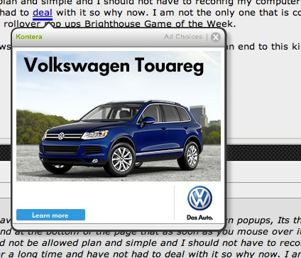 In-page pop-up advertising