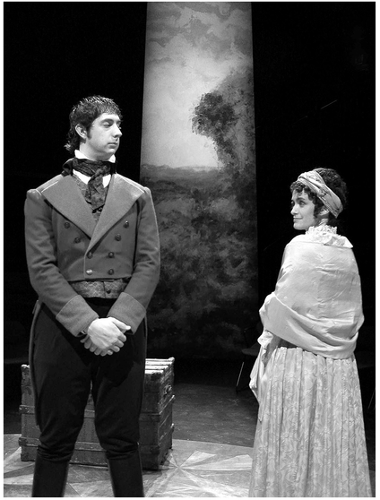 Arcadia by Tom Stoppard. In the round production directed by Anjalee Deshpande Hutchinson, lighting and set design by Karel Blakeley, costume design by Katrin Naumann. Le Moyne College 2005. Credit: Mark Hutchinson