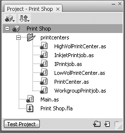Project window for the print shop example