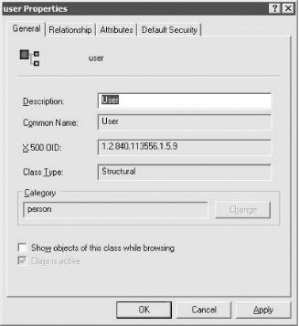 User class schema entry general settings