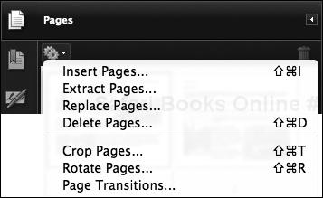 You have access to Acrobat's page-manipulation commands in the Pages pane's Action menu, identified by a gear icon.
