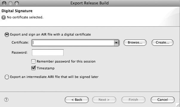 Export Release Build dialog box