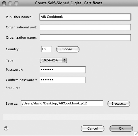 Create Self-Signed Digital Certificate dialog box