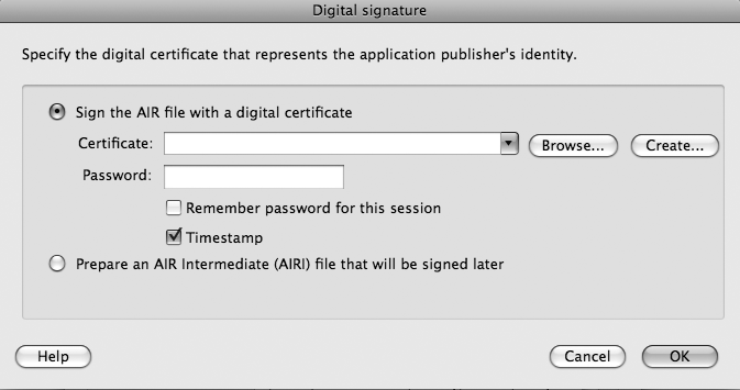 Digital signature dialog box in Flash