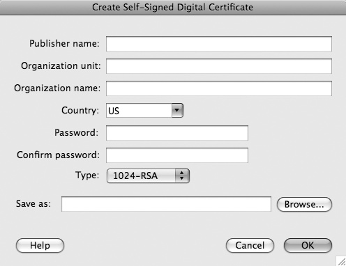 Create Self-Signed Digital Signature dialog box in Flash