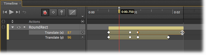 You can change the duration of a transition by dragging the keyframe at the beginning or the end. Here, the keyframe at the end of the Translate (x) property is being dragged down the Timeline, extending the transition. RoundRect will continue to move horizontally after the vertical motion stops.