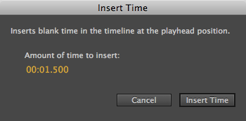 You can insert time at any point in the timeline by moving the playhead to a position and then using the Timeline→Insert Time command. Dial up the amount of time you want to add and click the Insert Time button shown here.