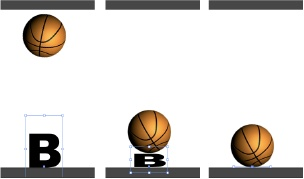 In this animation, the basketball drops from above (left). When it meets the letter B, it squashes the letter (middle). By the time it hits the ground, the letter is flat (bottom). As the ball bounces up, the letter springs back into shape.