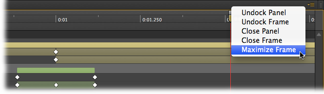 When the timeline seems too small for serious work, use the Maximize Frame command shown here. After using the command, the timeline will fill the available space hiding the other panels, but giving your room for serious timeline manipulation.