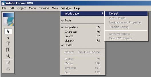 Use the Encore Window menu to show and hide individual windows and palettes.