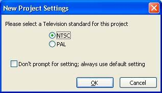 Specify the television standard for your DVD when you open a new project.