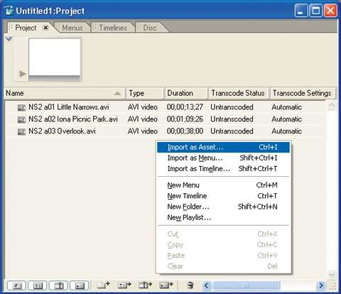 Import your video clip asset files into the Project window.